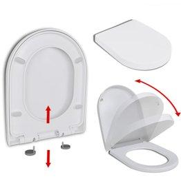 Toiletbril soft-close met quick-release ontwerp vierkant wit