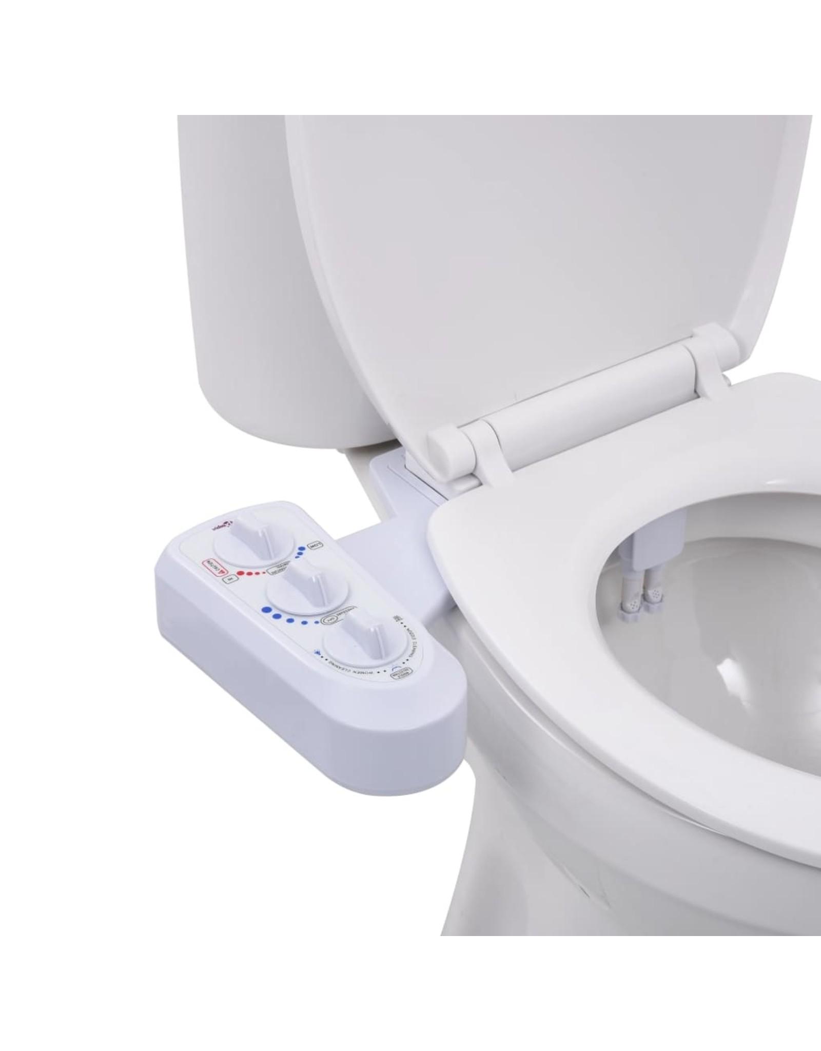 Bidetaansluiting voor toiletbril met dubbel mondstuk