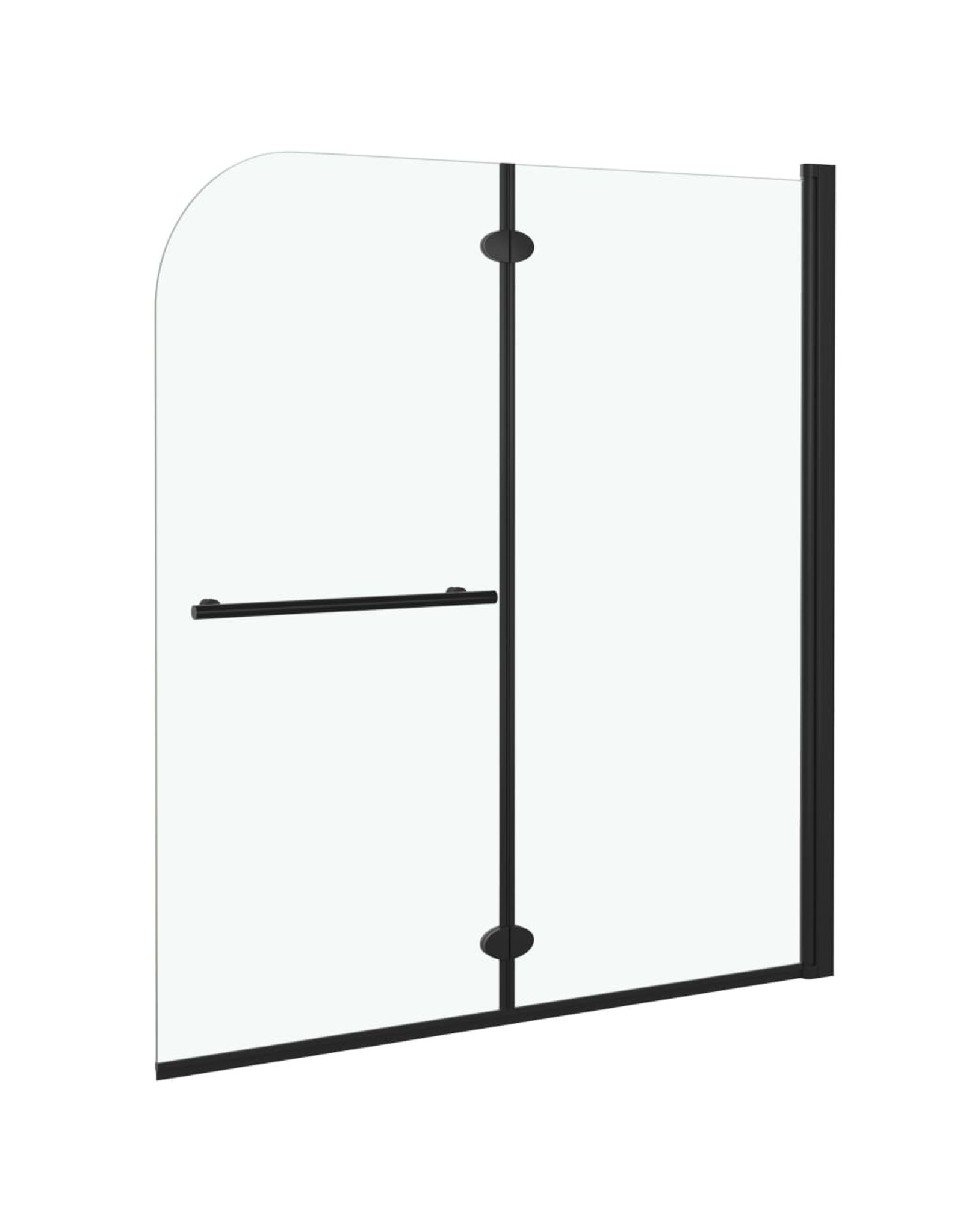 Douchewand inklapbaar 2 panelen 120x140 cm ESG zwart
