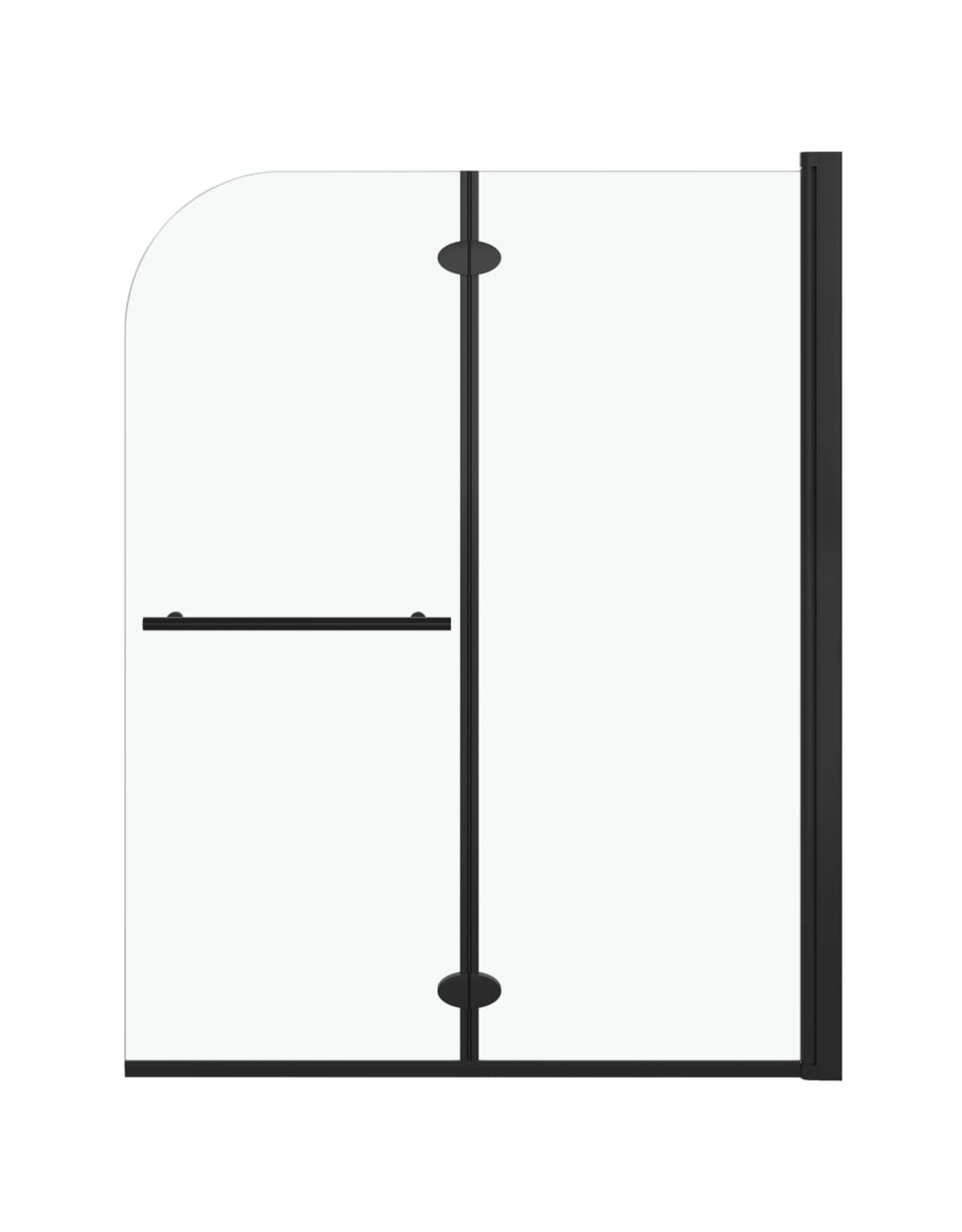 Douchewand inklapbaar 2 panelen 95x140 cm ESG zwart