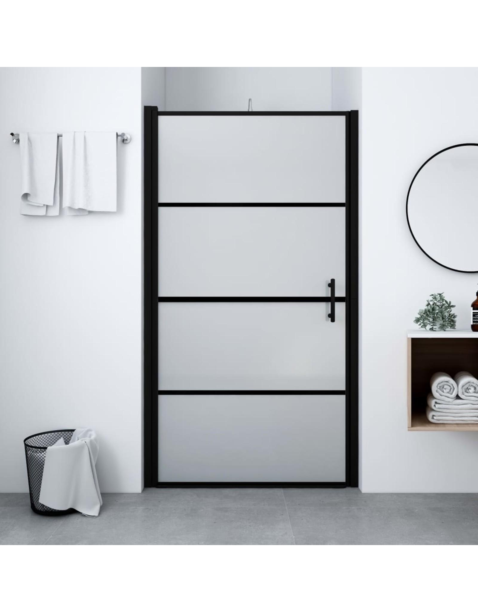 Douchedeur mat 100x178 cm gehard glas zwart
