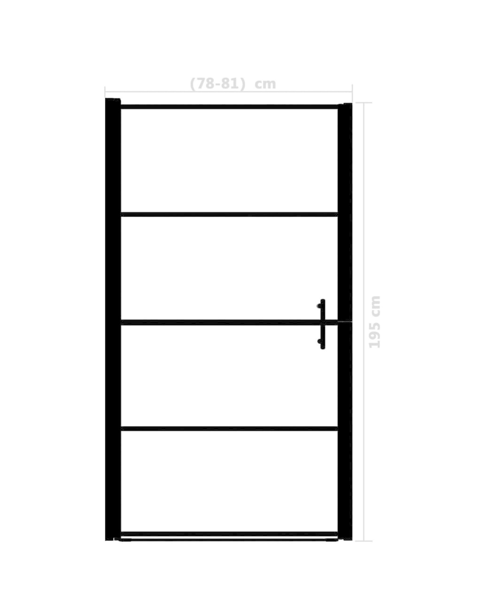 Douchedeur mat 81x195 cm gehard glas zwart