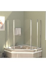 Badwanden 2 st 104x130 cm gehard glas transparant