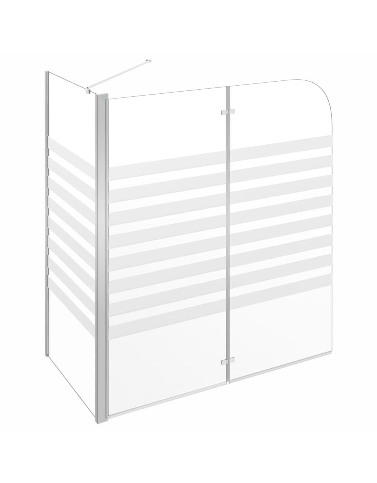 Badwand gestreept 120x68x130 cm gehard glas