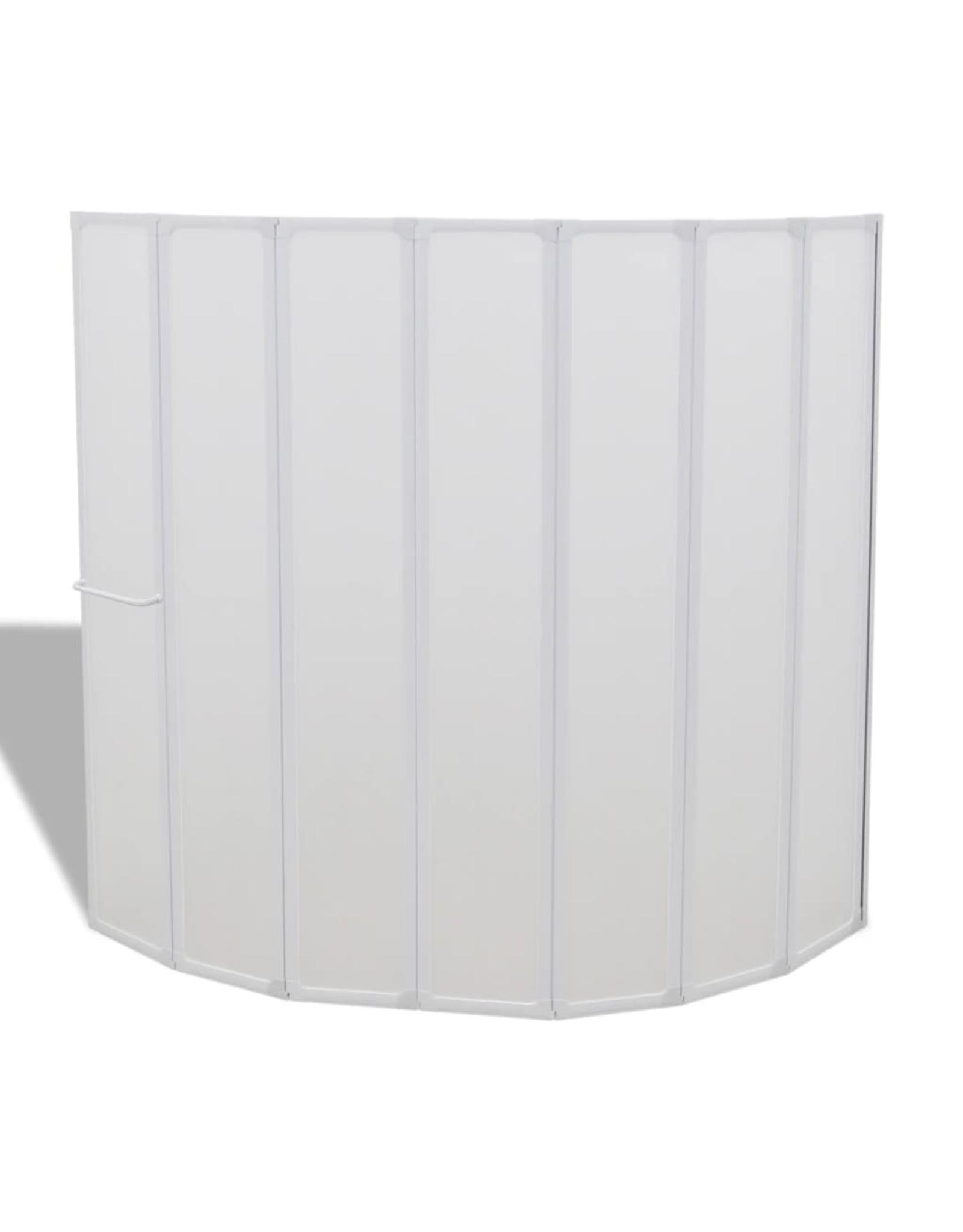 Douche en badscherm 140 x 168 cm 7 panelen met handdoekrek
