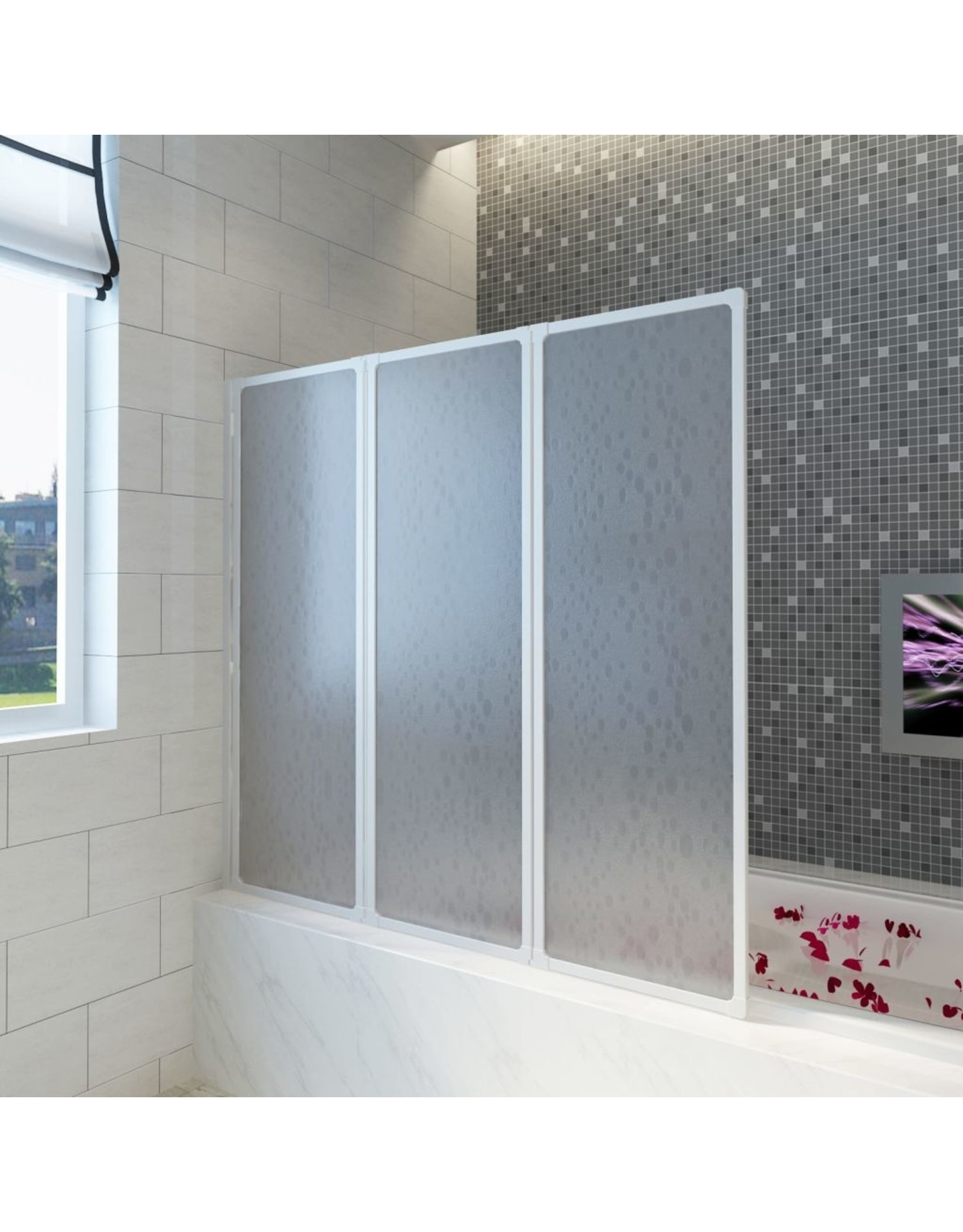 Badscherm 3 panelen vouwbaar 117 x 120 cm