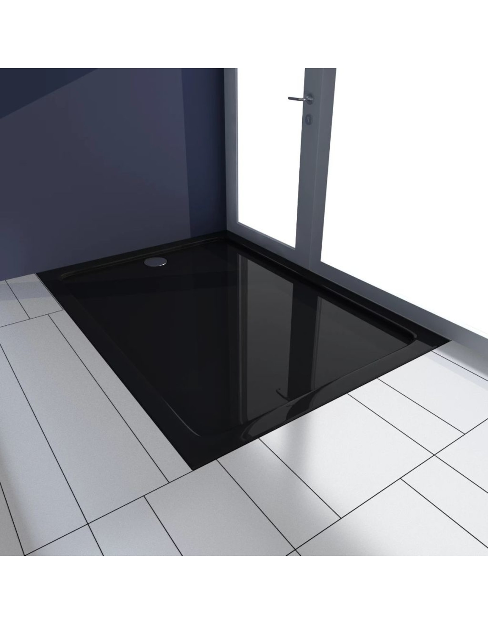 Douchebak rechthoekig 80x110 cm ABS zwart