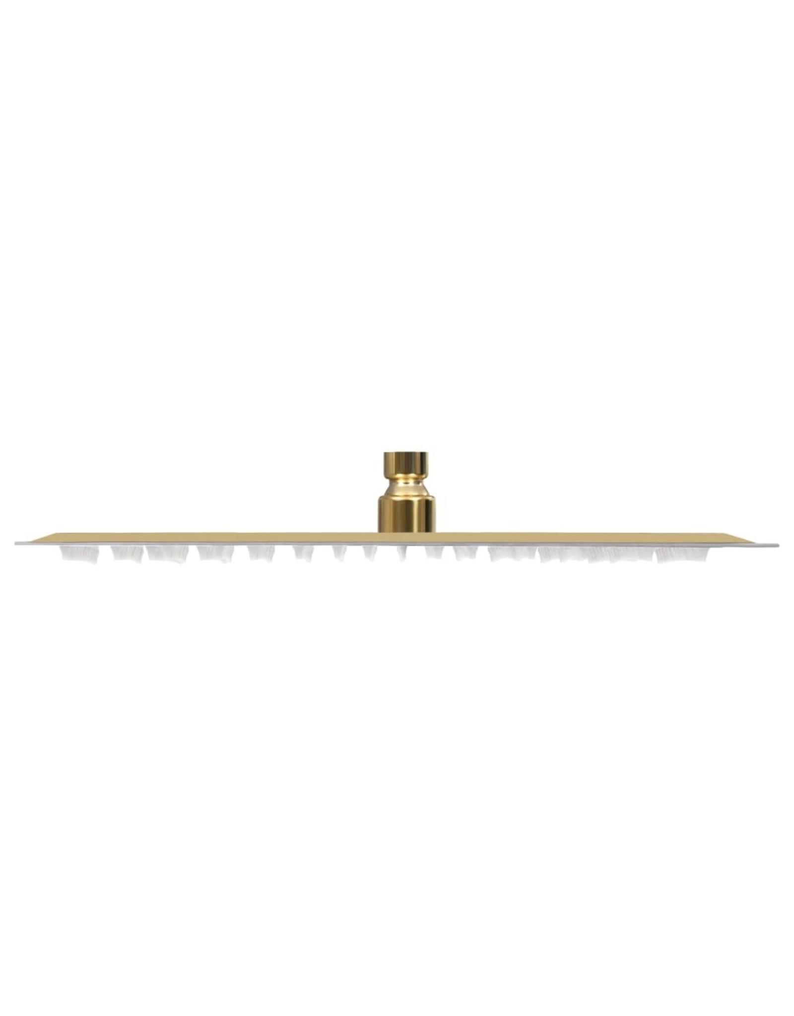 Regendouchekop vierkant 40x40 cm roestvrij staal goudkleurig