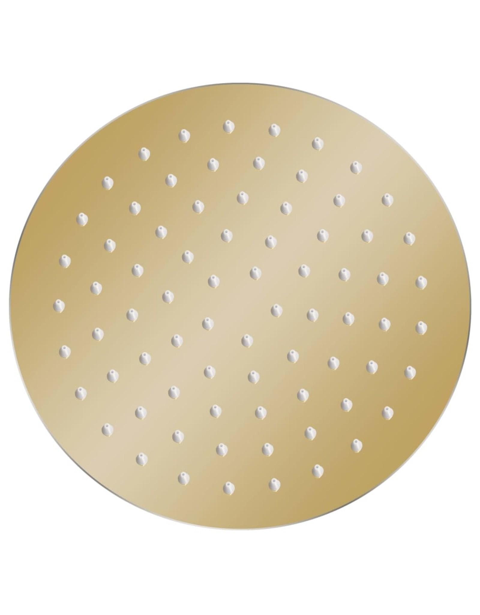 Regendouchekop rond 20 cm roestvrij staal goudkleurig