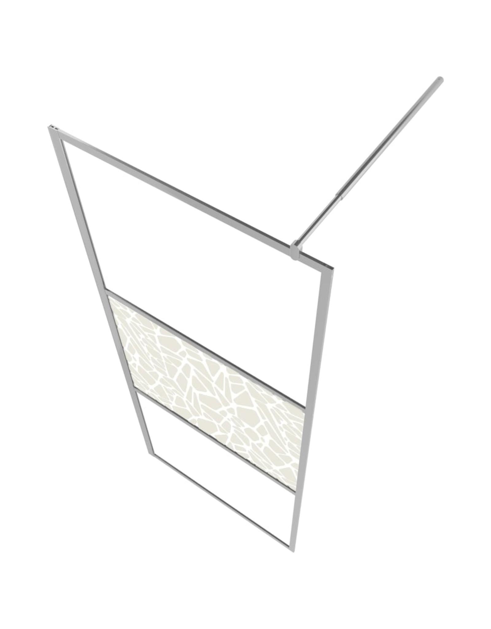 Inloopdouchewand met stenenmotief 115x195 cm ESG-glas