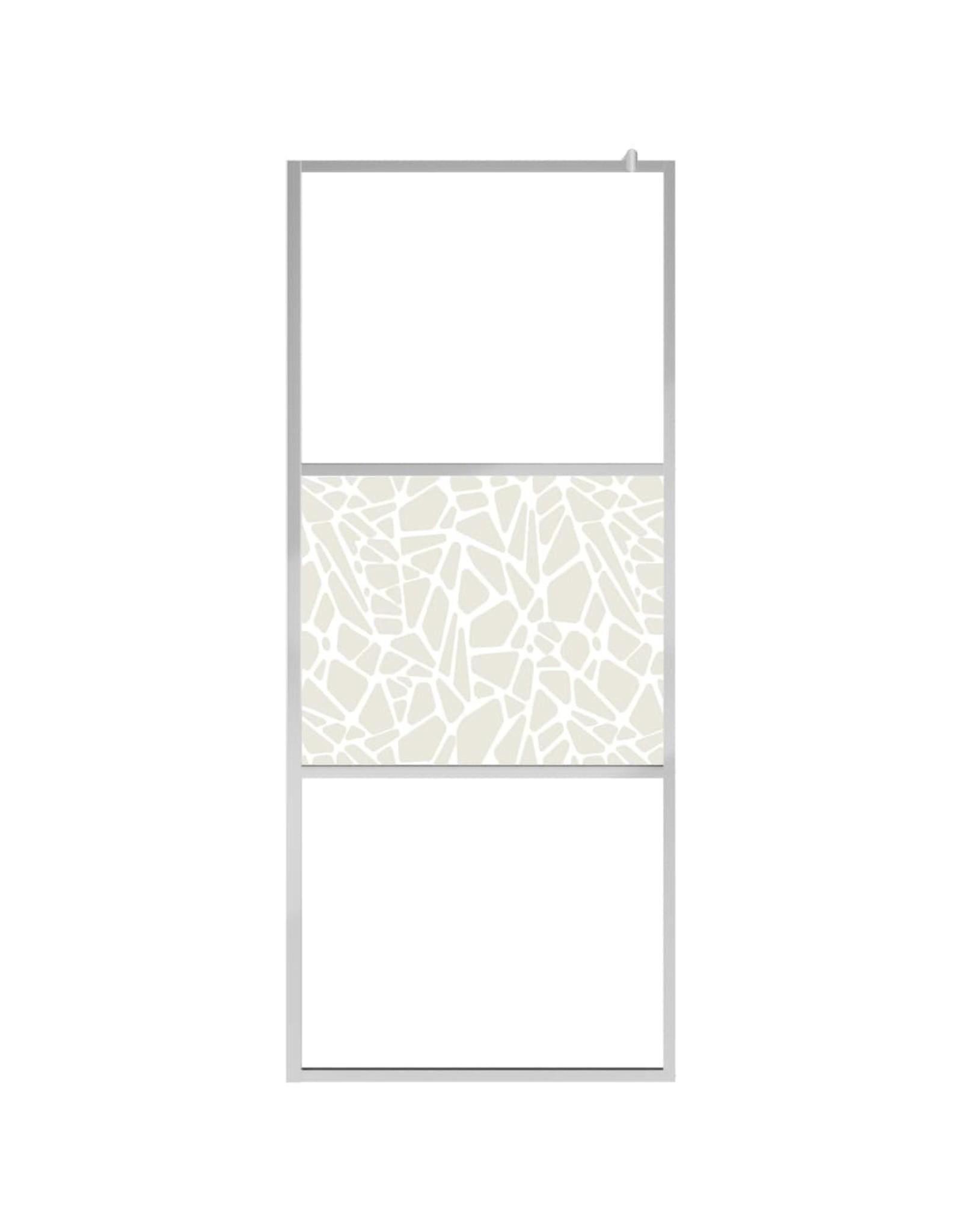 Inloopdouchewand met stenenmotief 90x195 cm ESG-glas