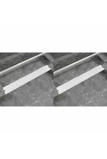 Doucheafvoer 2 st rechthoekig bubbel 830x140 mm roestvrij staal