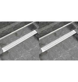 Doucheafvoer 2 st rechthoekig golf 1030x140 mm roestvrij staal