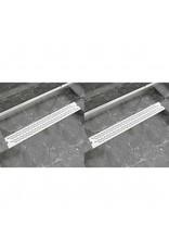 Doucheafvoer 2 st rechthoekig golvend 830x140 mm roestvrij staal
