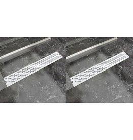 Doucheafvoer 2 st rechthoekig golf 730x140 mm roestvrij staal