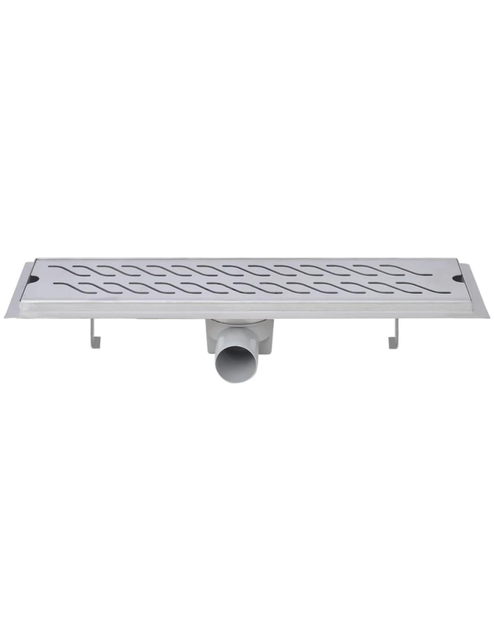 Doucheafvoer 2 st rechthoekig golvend 530x140 mm roestvrij staal