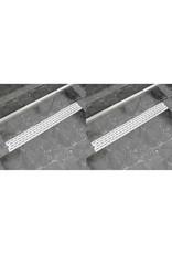 Doucheafvoer 2 st rechthoekig lijn 930x140 mm roestvrij staal