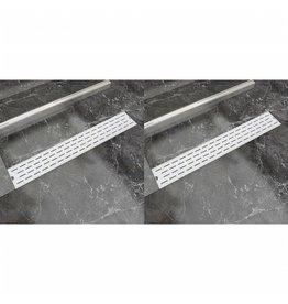 Doucheafvoer 2 st rechthoekig lijn 730x140 mm roestvrij staal