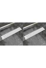 Doucheafvoer 2 st rechthoekig lijn 630x140 mm roestvrij staal