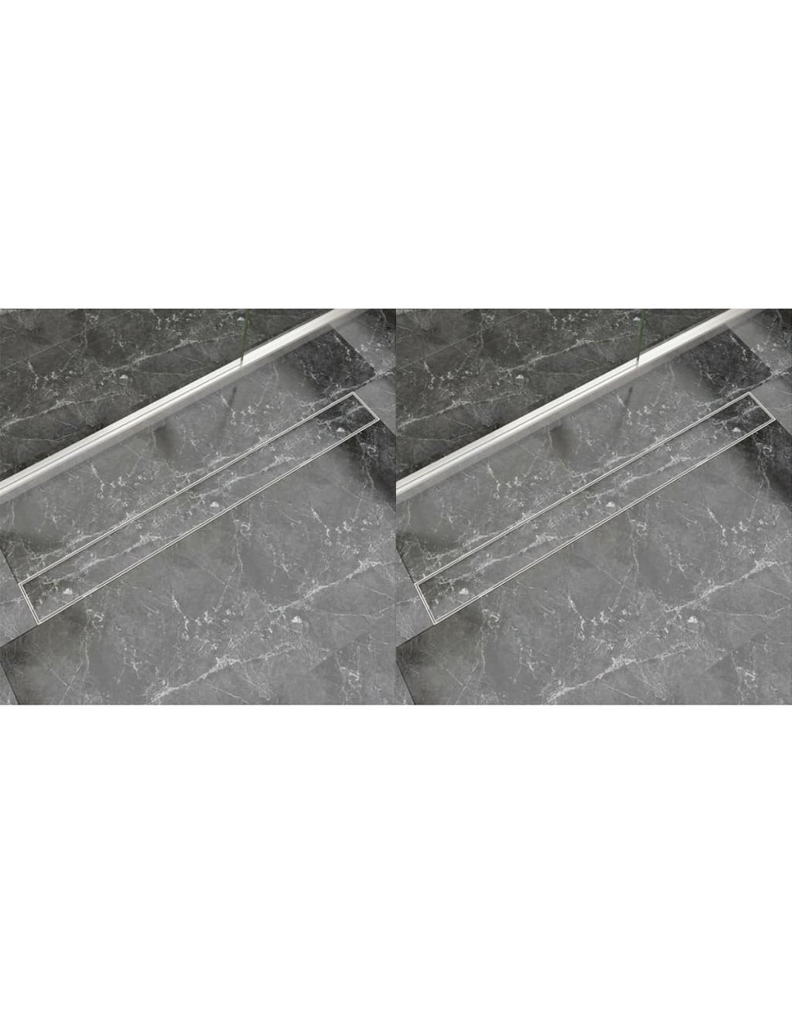 Doucheafvoer 2 st rechthoekig 1030x140 mm roestvrij staal