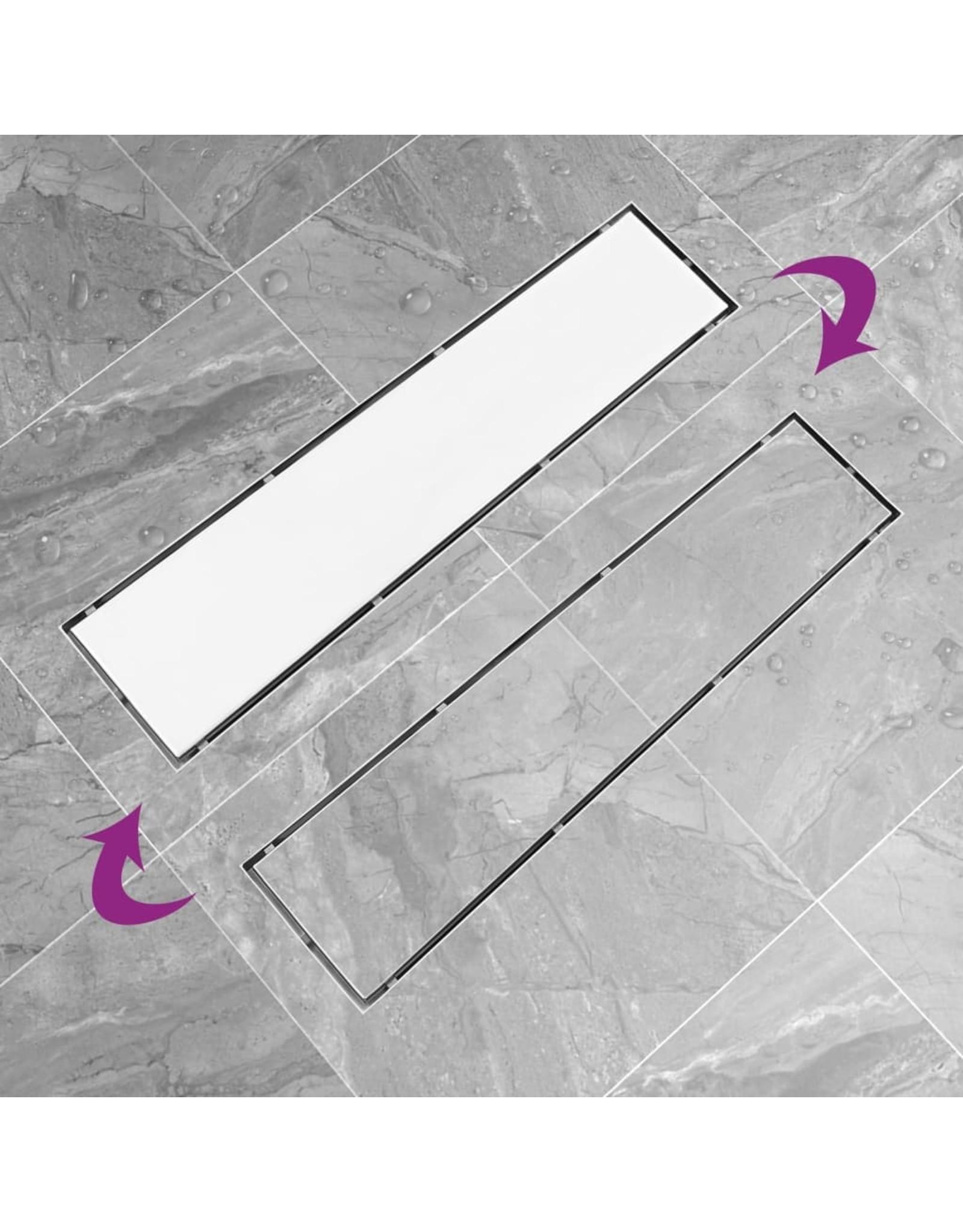 Doucheafvoer met 2-in-1 deksel 53x14 cm roestvrij staal
