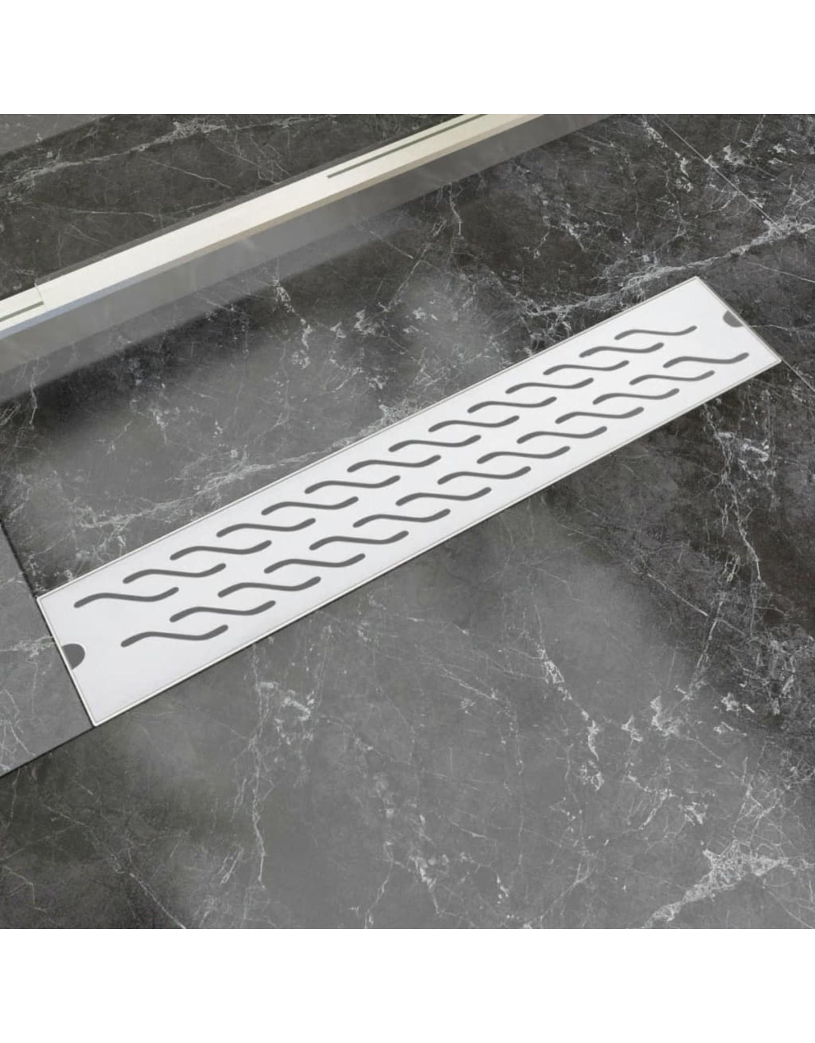 Douchegoot rechthoekig golf 630x140 mm roestvrij staal