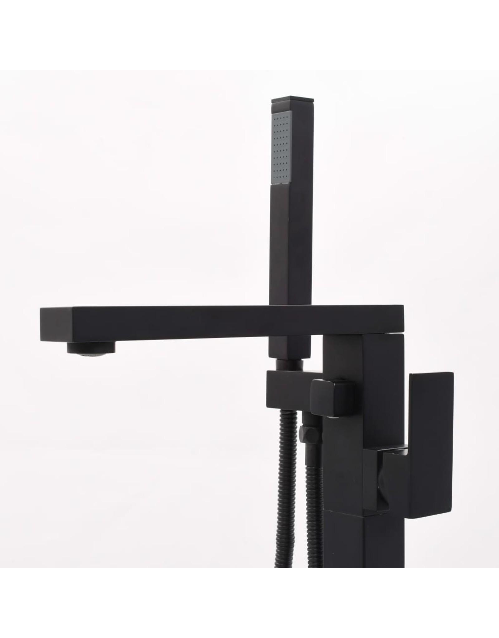 Badkuipkraan vrijstaand 90 cm roestvrij staal zwart