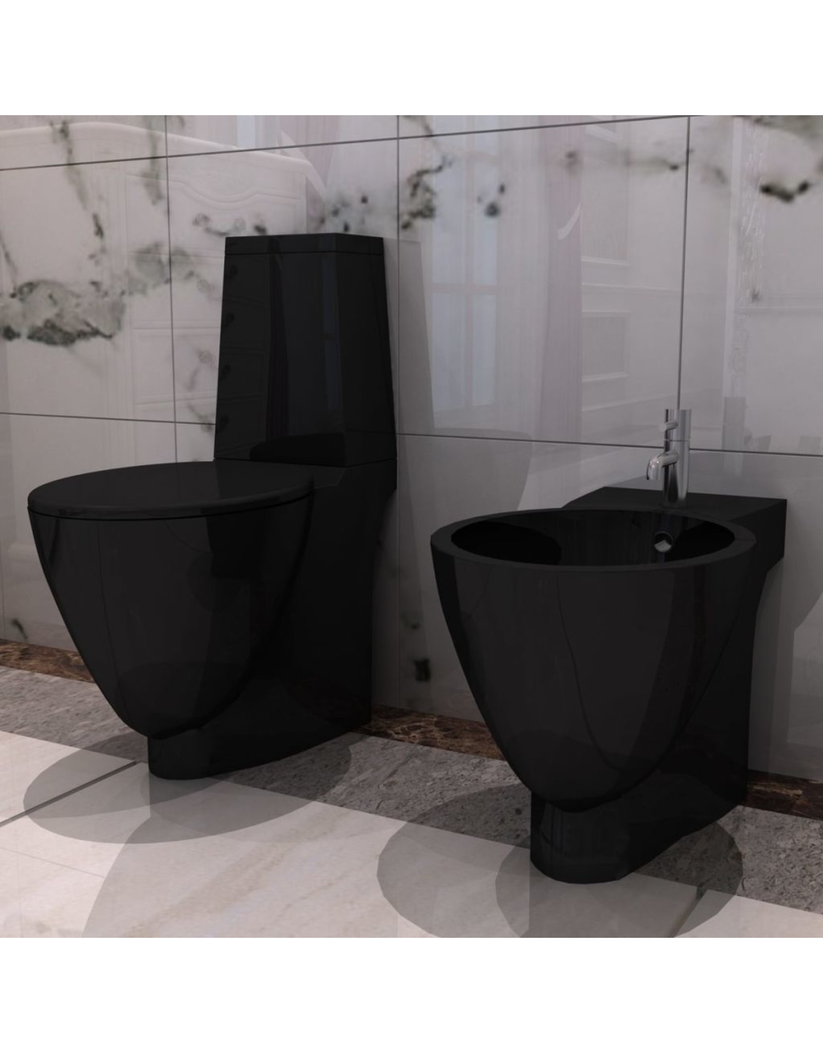 Keramieken W.C. en Bidet Set (zwart)