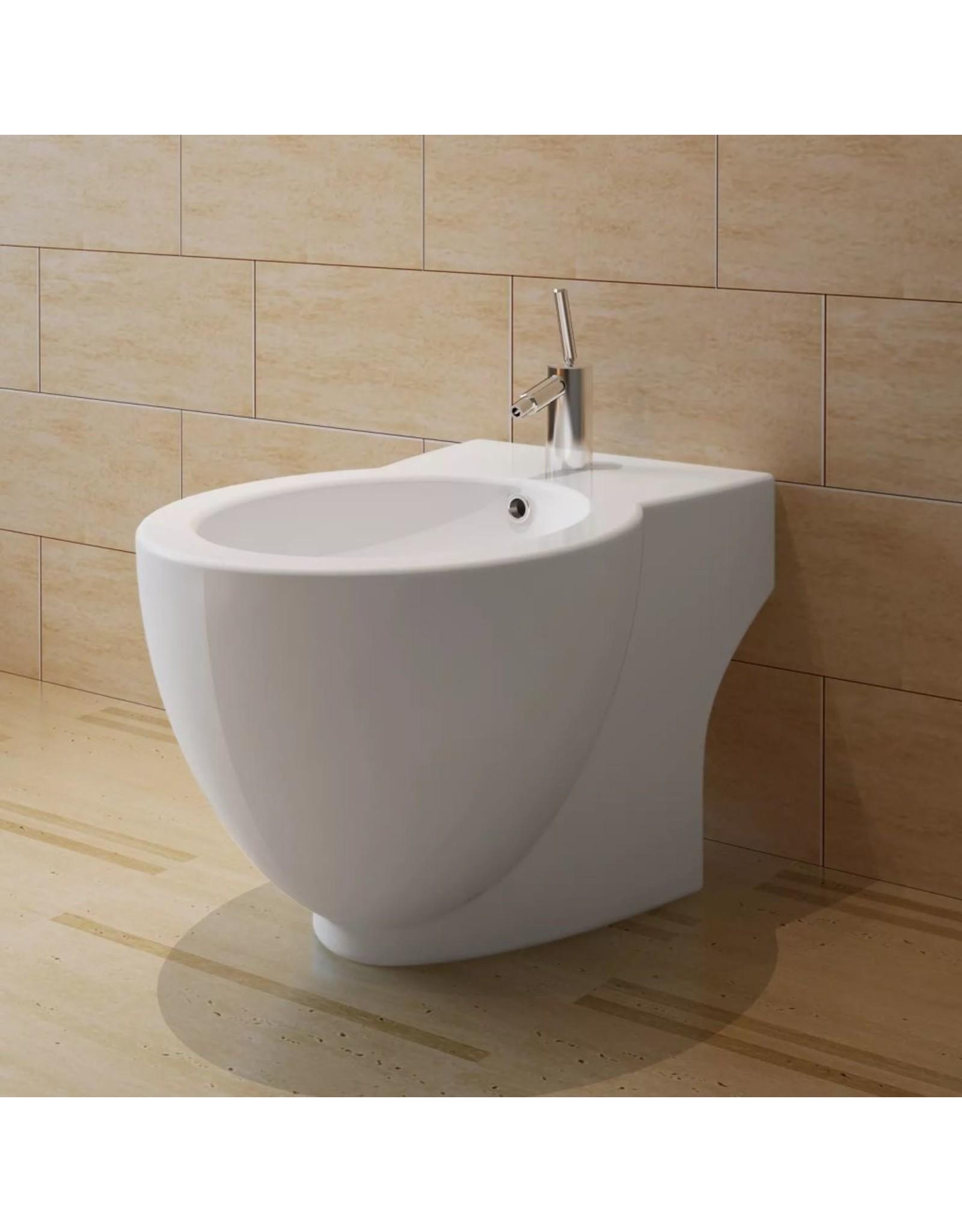 Keramisch Toilet Rond wit + Bidet
