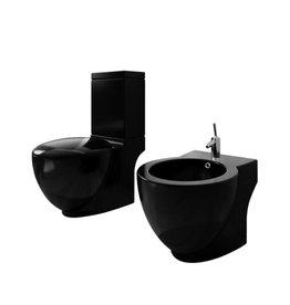 Staand toilet en bidet set (zwart)
