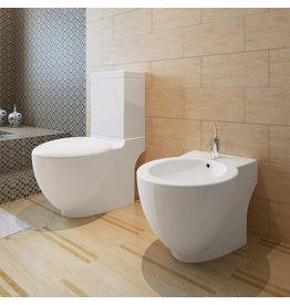Staand toilet en bidet set (wit)