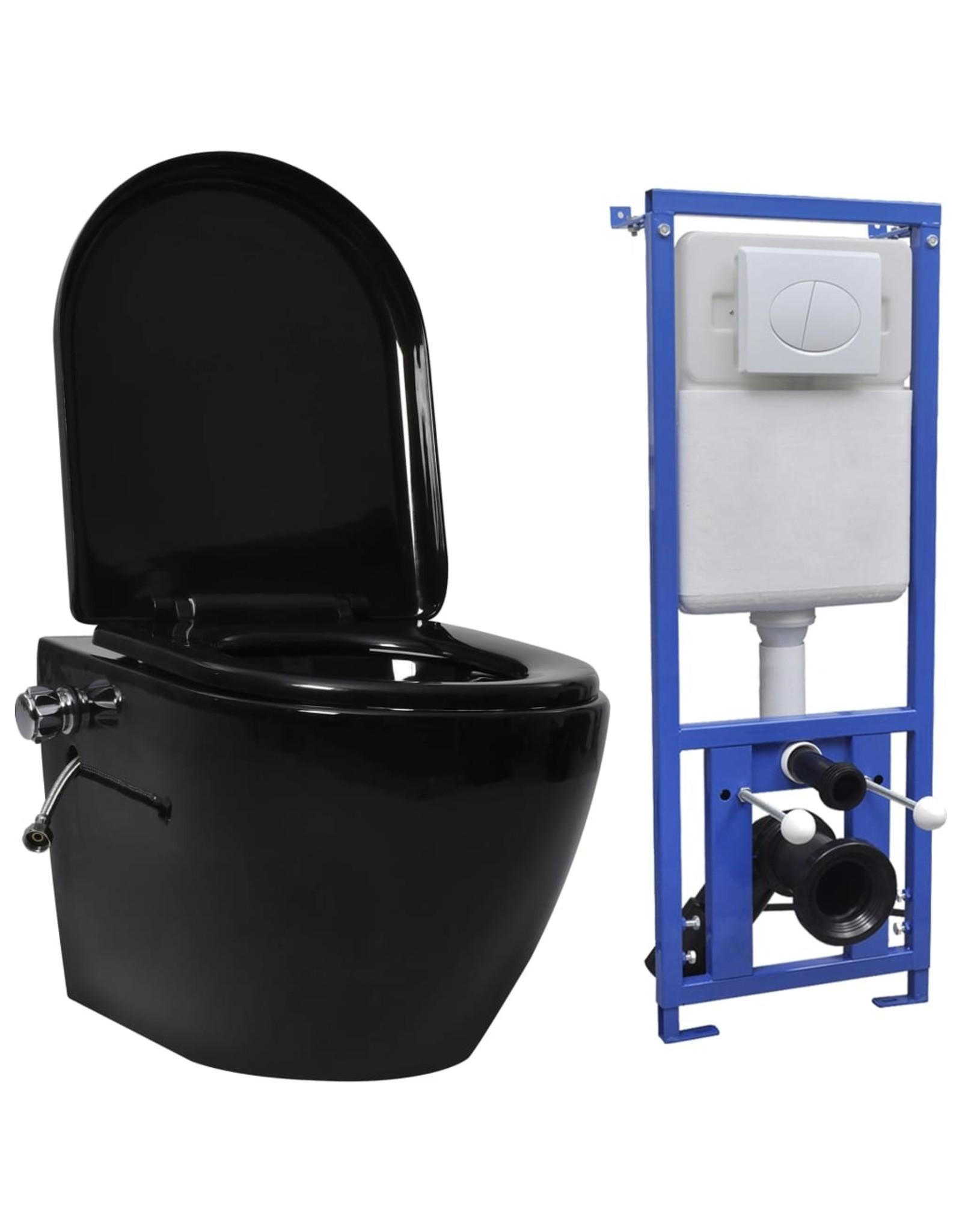 Hangend toilet randloos met verborgen stortbak keramiek zwart