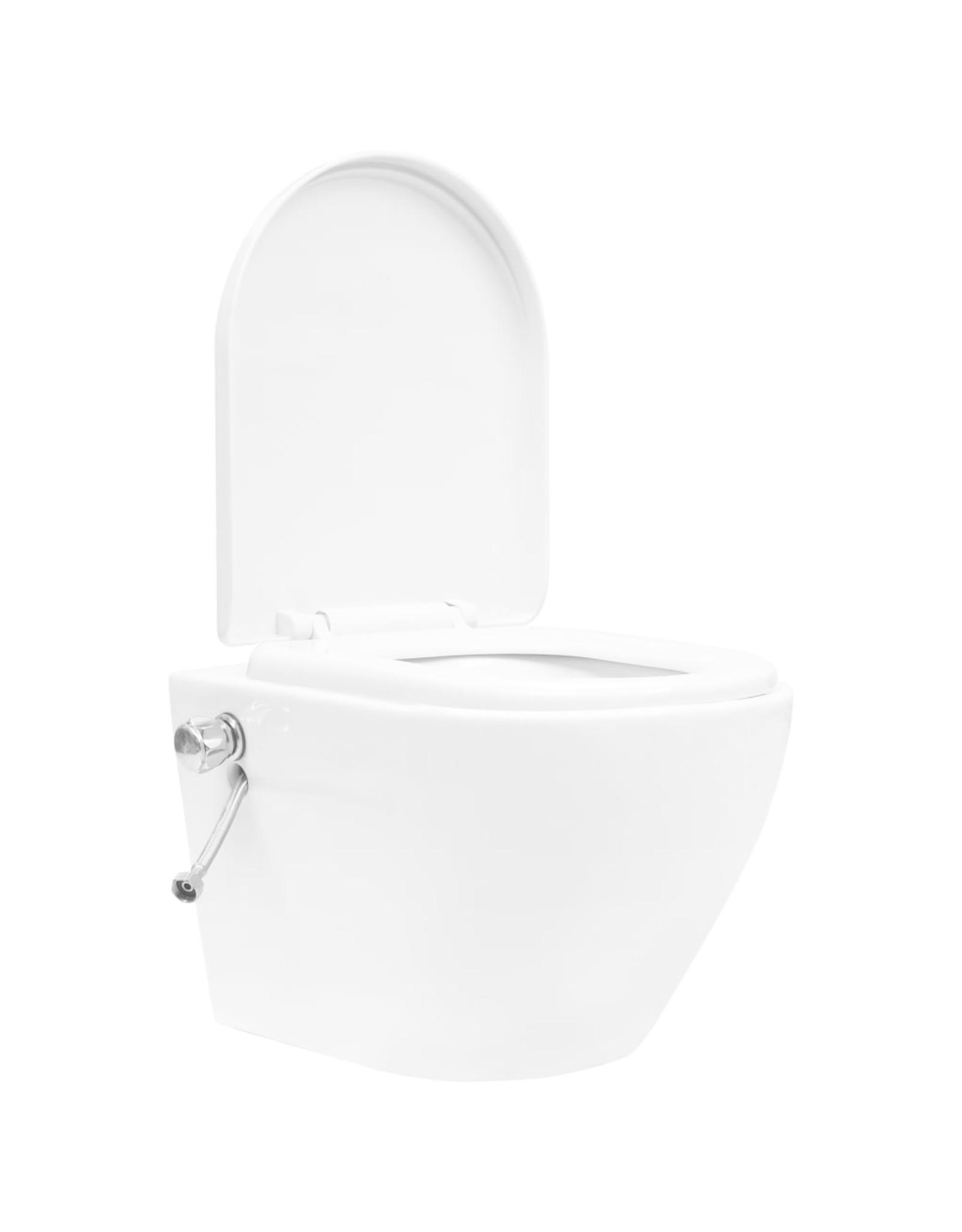 Hangend toilet randloos met verborgen stortbak keramiek wit
