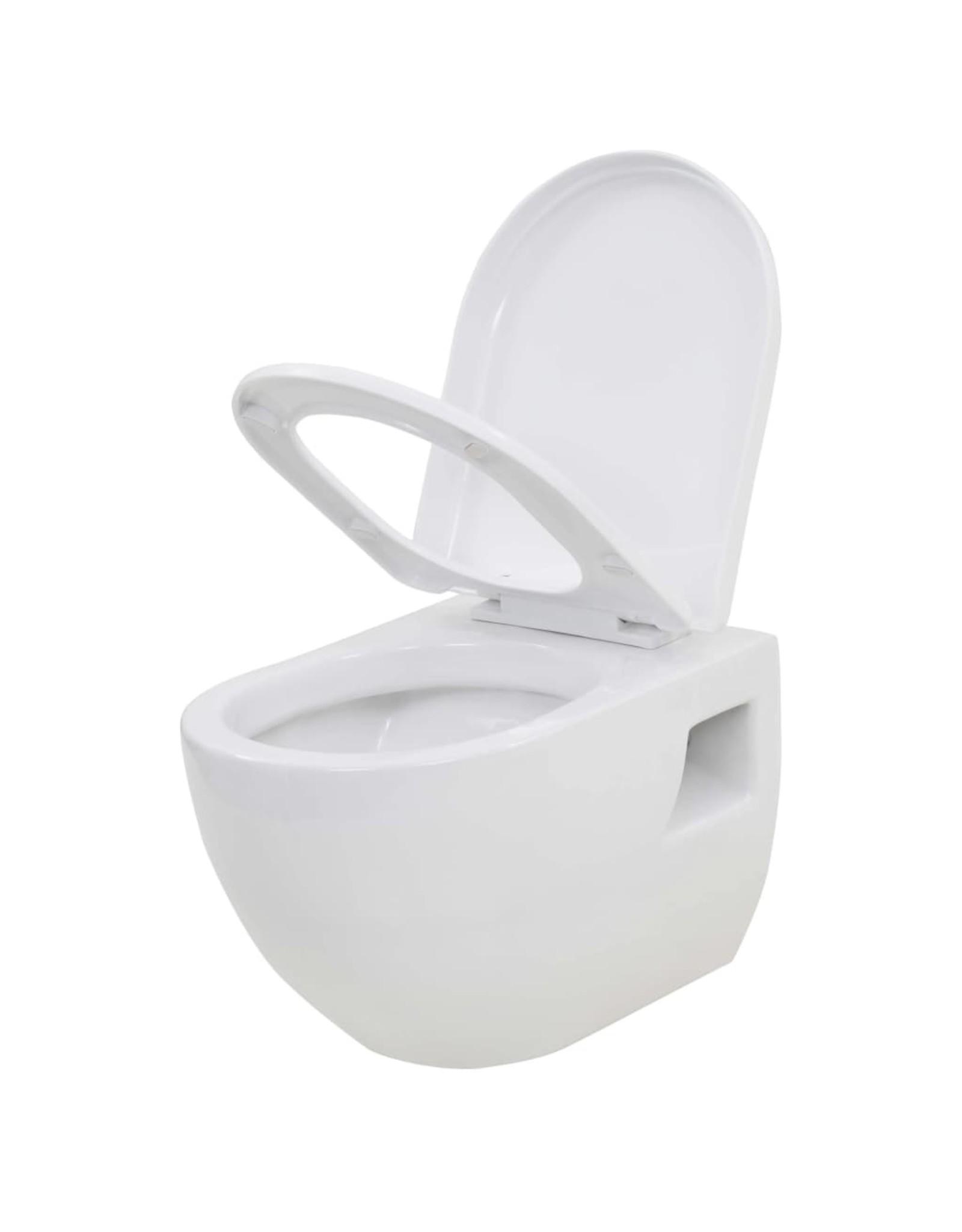 Hangend toilet met verborgen stortbak keramiek wit
