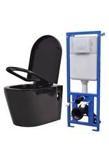 Hangend toilet met verborgen stortbak keramiek zwart