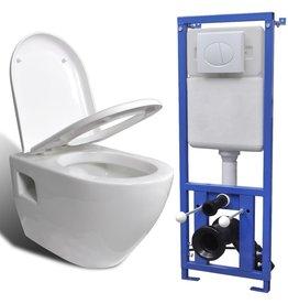Hangend toilet met stortbak keramiek wit