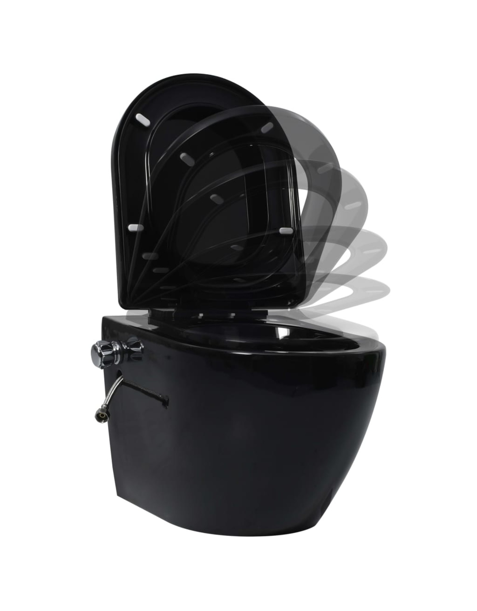 Hangend toilet randloos met bidetfunctie keramiek zwart