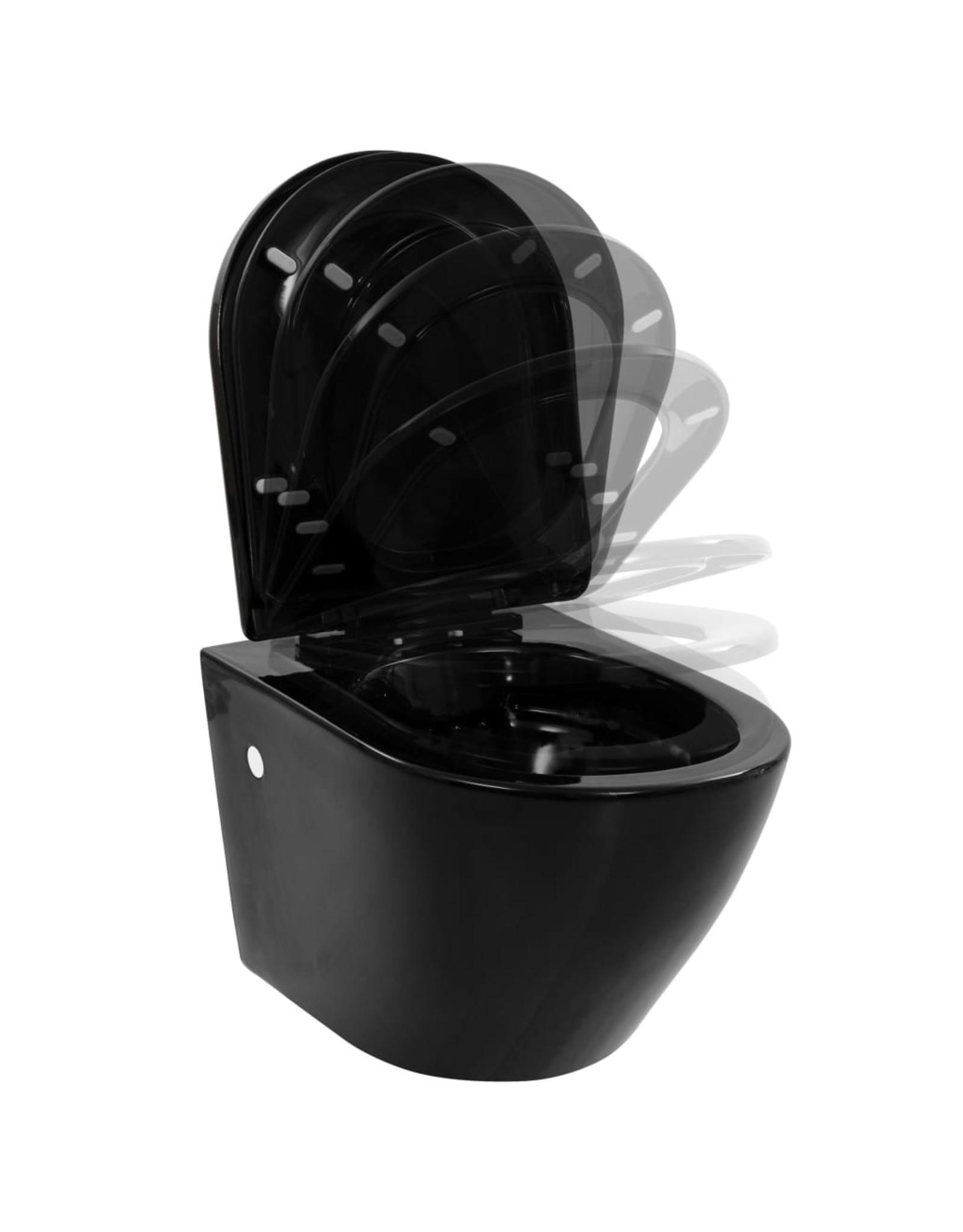 Hangend toilet randloos keramiek zwart