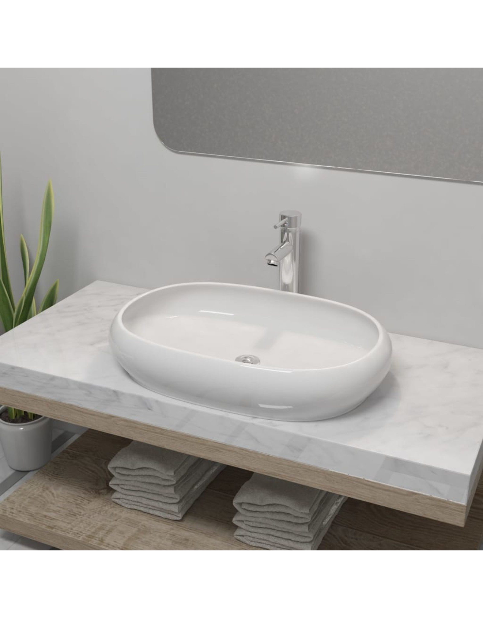 Badkamerwastafel met mengkraan ovaal keramiek wit