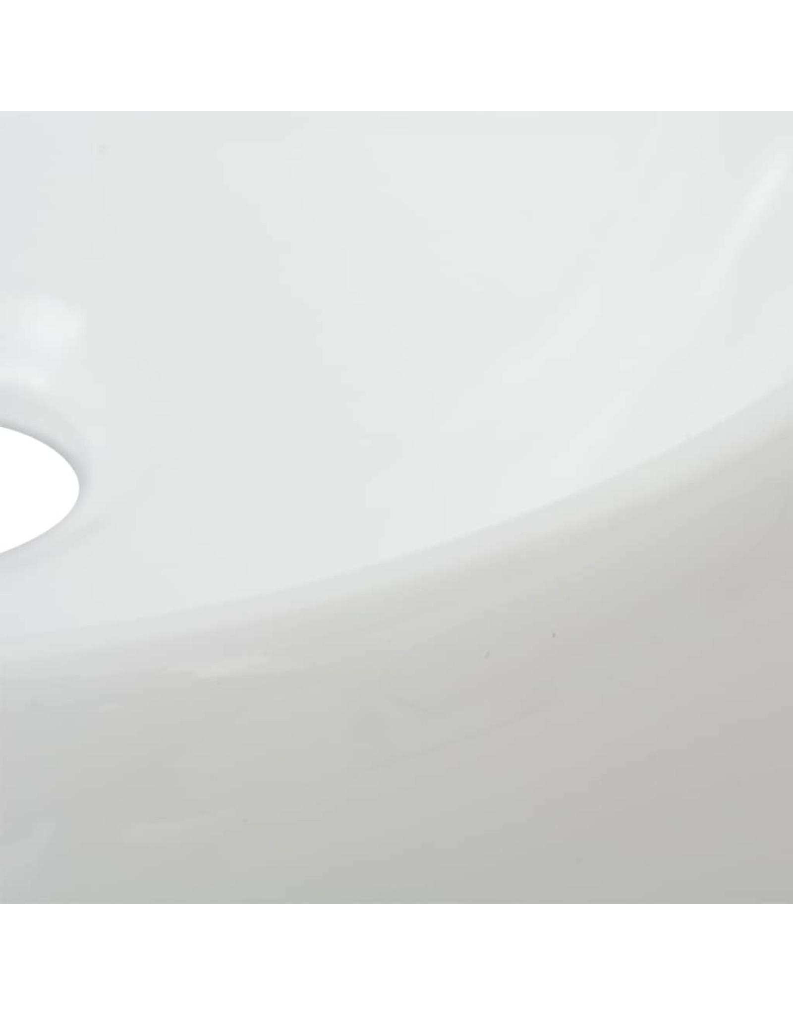 Badkamerwastafel met mengkraan rond keramiek wit