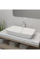 Badkamerwastafel met mengkraan rechthoekig keramiek wit