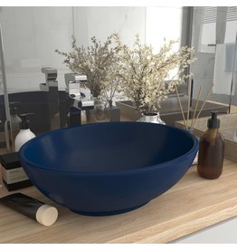 Wastafel ovaal 40x33 cm keramiek mat donkerblauw