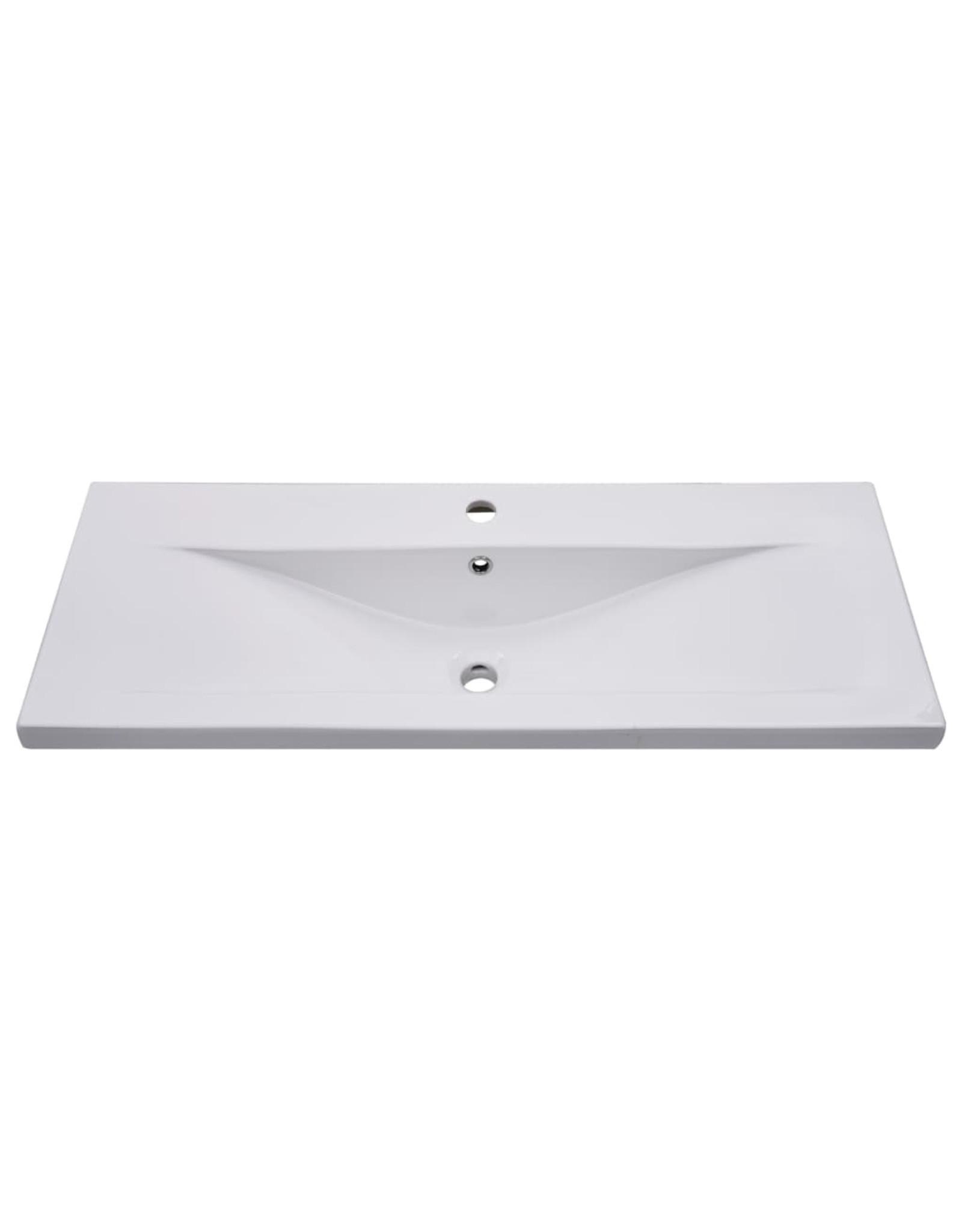 Inbouwwastafel 101x39,5x18,5 cm keramiek wit