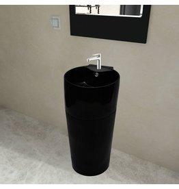 Staande wastafel met overloop en kraangat zwart rond keramiek