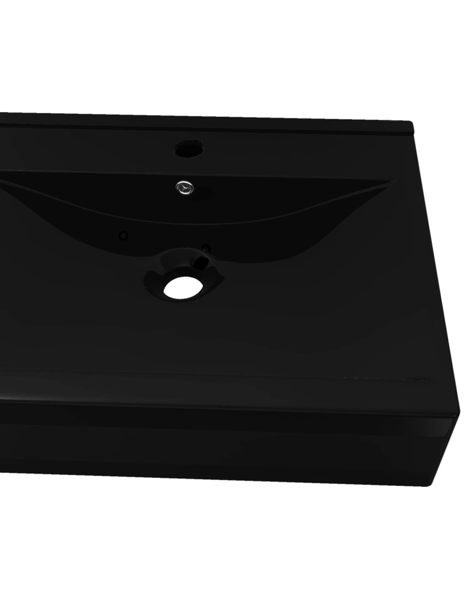 Luxe wastafel met kraangat zwart rechthoekig keramiek 60x46 cm