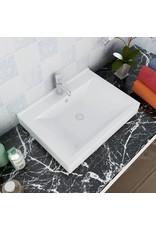 Luxe wastafel met kraangat wit rechthoekig keramiek 60x46 cm