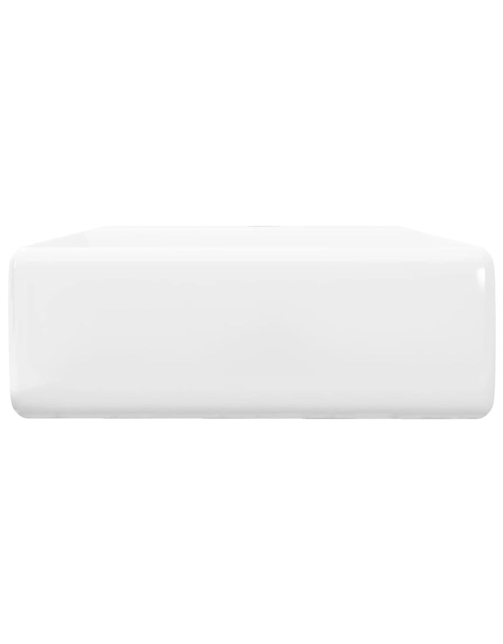 Luxe wastafel met overloop en kraangat vierkant keramiek 41x41 cm
