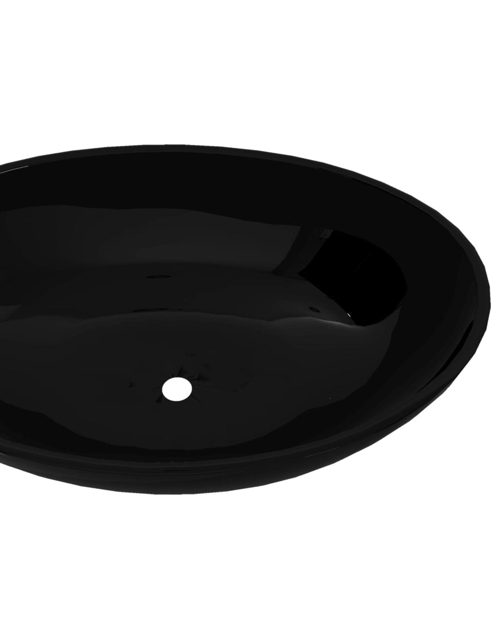 Luxe wastafel ovaal 40x33 cm keramiek zwart