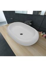 Luxe keramische wasbak ovaal 63 x 42 cm (wit)