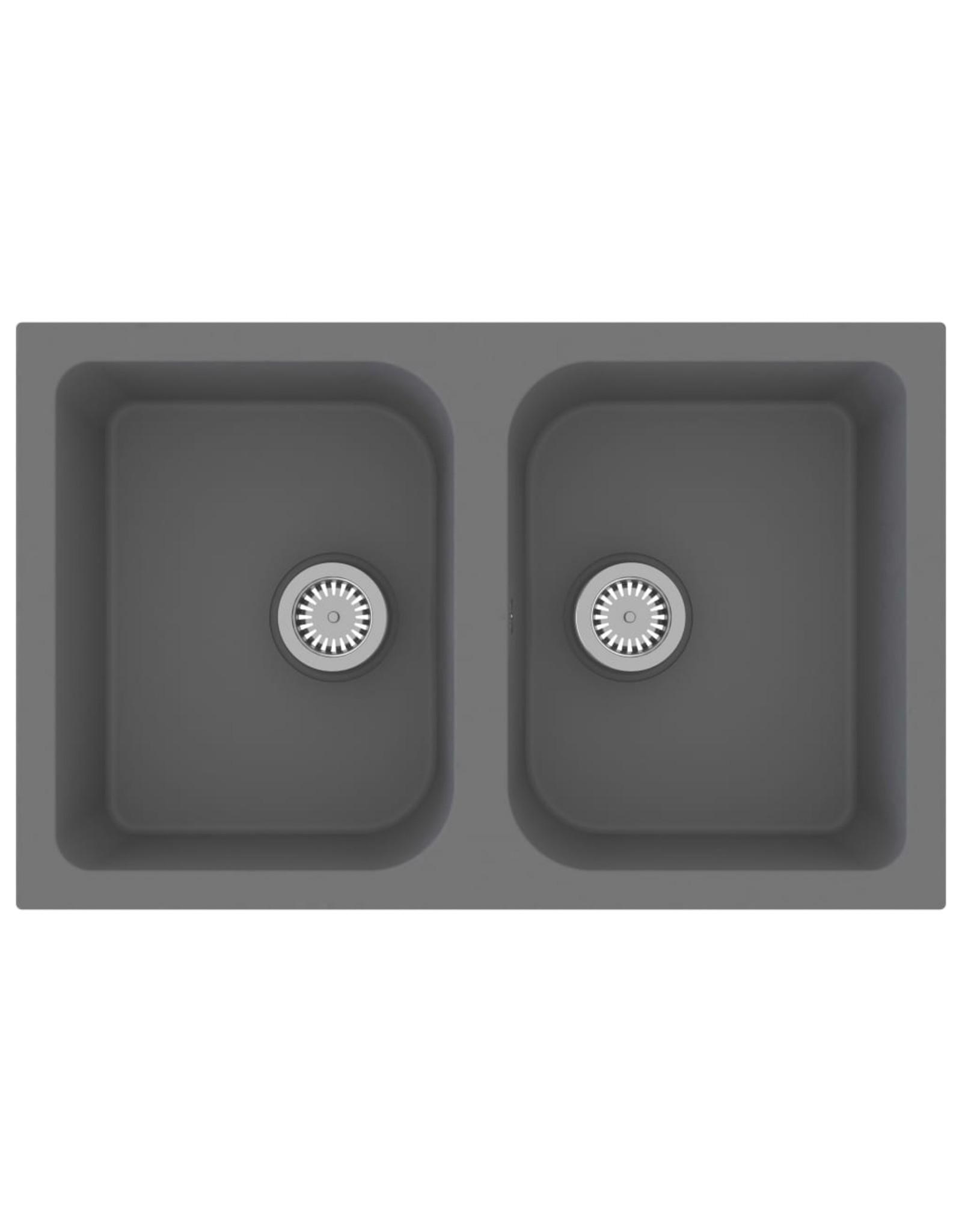 Gootsteen dubbele bakken met overloopgat graniet grijs
